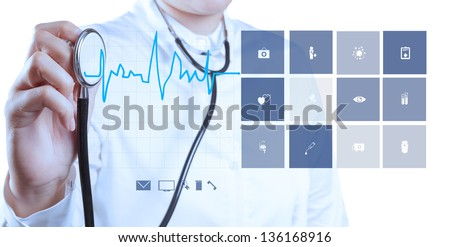 Medicine doctor hand working with modern computer show cardiologist - stock photo