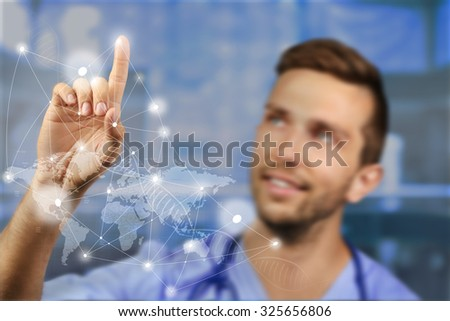 Medicine doctor working with modern computer interface.Modern medical technologies concept - stock photo