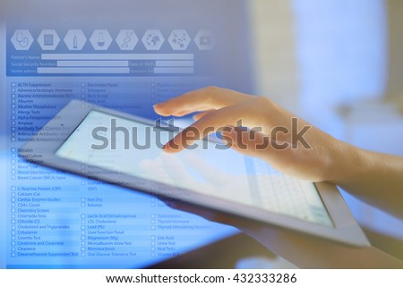 Medicine doctor working with modern digital tablet-pc. Medical network concept