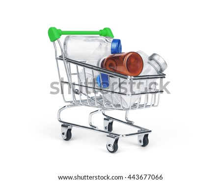 Medicine drug and pill in shopping cart