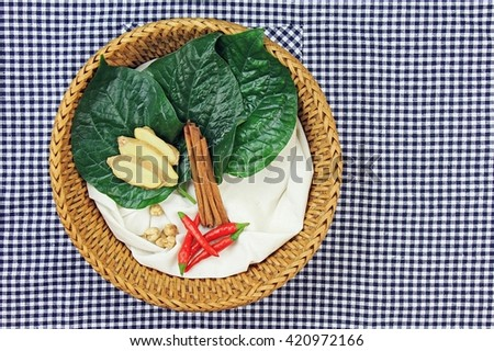 Medicine food, Cooking ingredients, Herbs and spice, ginger, cinnamon, cardamom, chlli, betel leaf.  - stock photo