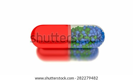 Medicine in red capsule. Conceptual image for health or addiction concepts