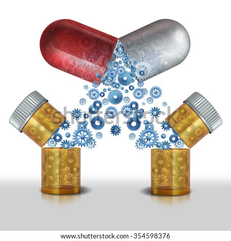 Medicine interaction and multipurpose drug or safety concerns of combining pharmaceutical drug or medicinal supplements concept as two bottles of prescription drugs united create a new medical pill. - stock photo
