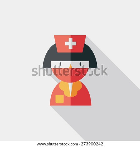 Medicine nurses flat icon with long shadow - stock photo