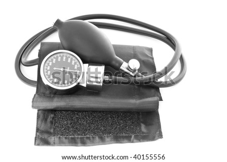 medicine object. blood pressure with stethoscope isolated on white background