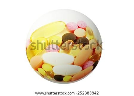 medicine pill tablet globe icon in white background - stock photo