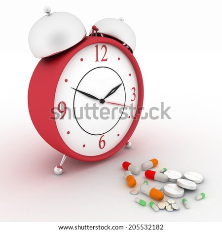 Medicine pills and red retro alarm clock. Conception of reception of pills on hours. 3d render illustration. - stock photo