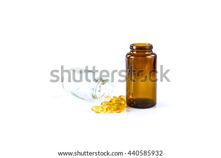 Medicine pills or capsules and bottle on white background. Drug prescription for treatment medication. Pharmaceutical medicament, cure in container for health. Antibiotic, painkiller closeup. - stock photo
