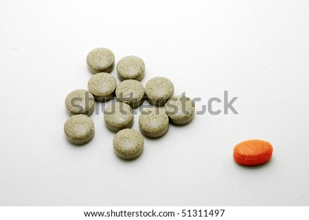 Medicine pills with different color and shape.