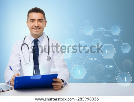 medicine, profession, technology and people concept - happy male doctor with clipboard and stethoscope over blue background with hydrogen chemical formula - stock photo