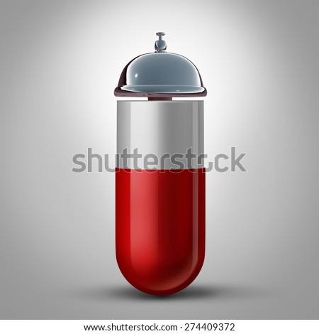 Medicine service and pharmacy drugstore assistance and pill preparation guidance as a medication capsule with a hospitality bell as a symbol and concept for doctor and pharmacist health care help. - stock photo