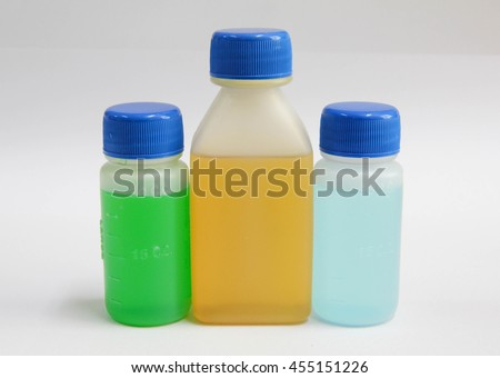 medicine syrup in plastic bottle - stock photo