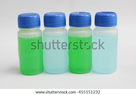 medicine syrup in plastic bottle no.1 - stock photo