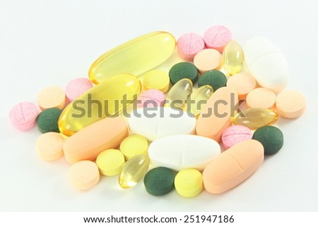 medicine various color and various shape in closeup - stock photo
