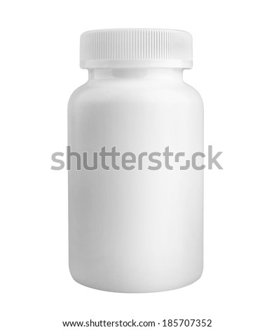medicine white pill bottle isolated on white background - stock photo