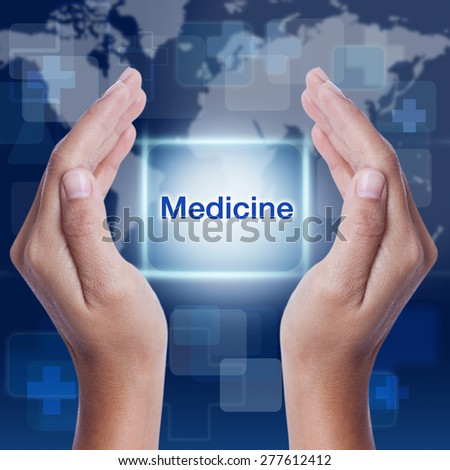 medicine word on screen background. medical concept - stock photo