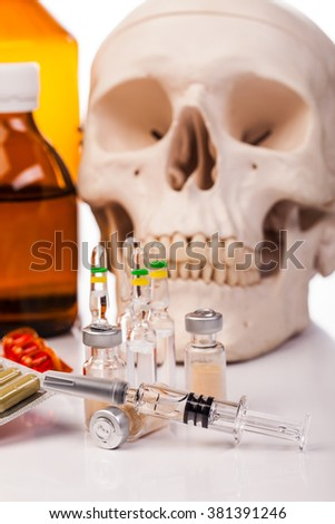 medicines and drugs isolated on white - stock photo
