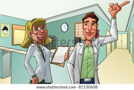 medics in a hospital, they look happy - stock photo