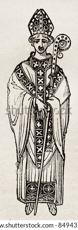 Medieval Abbot old illustration. By unidentified author, published on Magasin Pittoresque, Paris, 1840