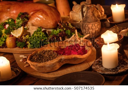kitchen table with food. Medieval Ancient Kitchen Table With Typical Food In Royal Castle.