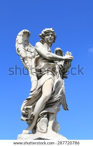 medieval angel statue of Castle Saint Angelo, Rome - stock photo