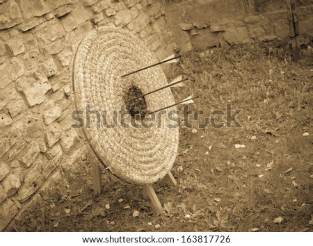 Medieval archery target with arrows - stock photo