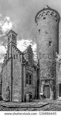Medieval architecture in Bruges, Belgium in black and white