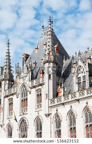 Medieval architecture in the city of Bruges, Belgium - stock photo
