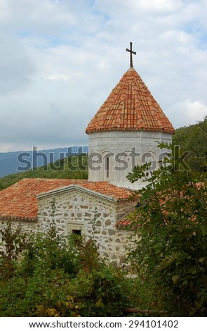 Medieval Armenian monastery Surb Khach in Crimea founded in 1358. - stock photo