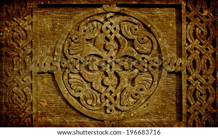 Medieval Armenian ornament on cross stone in grunge style isolated on white background - stock photo