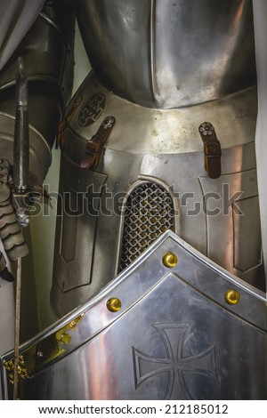 medieval armor made of wrought iron - stock photo