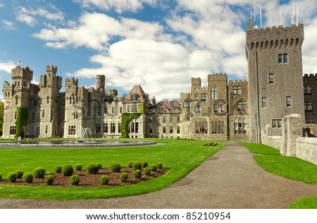 Medieval Ashford castle and gardens - Co. Mayo - Ireland - stock photo