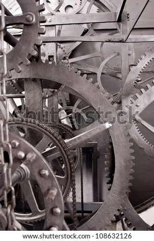 Medieval astronomical clock gearing - interior - detail - stock photo