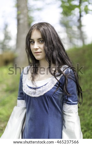medieval blue dress on pretty girl model with blue eyes