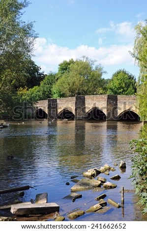 Medieval bridge over the River Wye, Bakewell, Derbyshire, England, UK, Western Europe.