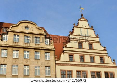 Medieval buildings in Leipzig, Germany - stock photo