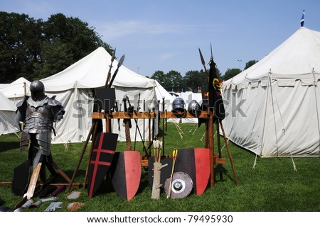 Medieval Camp - stock photo