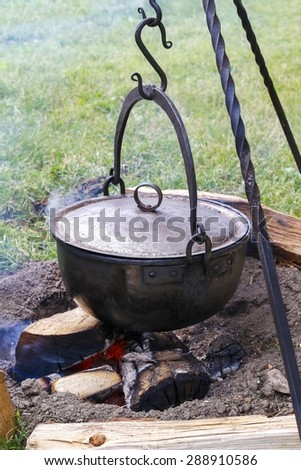 Medieval campfire - stock photo