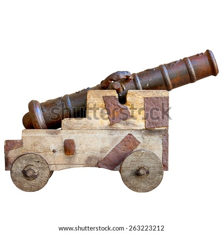 Medieval cannon isolated on white background. The sample of ancient artillery Europe. - stock photo