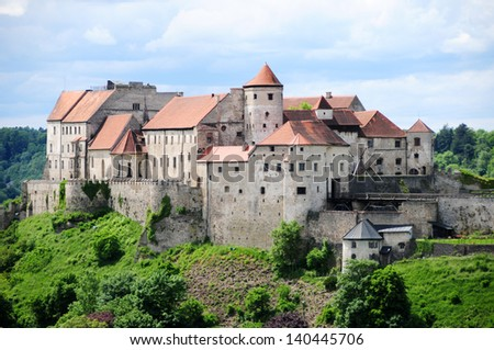 Medieval castle Burghausen in Bavaria,Germany - stock photo