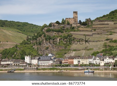Medieval castle Gutenfels overlooking the Rhine valley, Kaub, Germany - stock photo