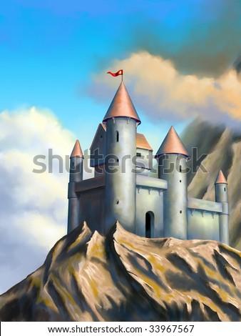 Medieval castle in an imaginary landscape. Original digital illustration. - stock photo