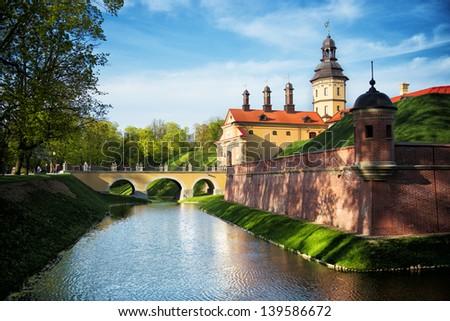 Medieval castle in Belorussian town Nesvizh. - stock photo