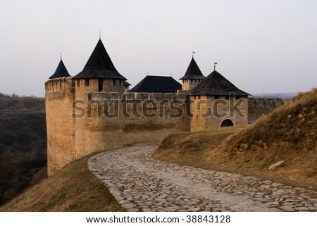 Medieval castle in Khotin, Ukraine - stock photo