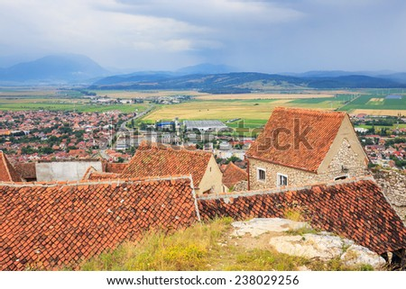 Medieval castle in Rasnov. Fortress was built between 1211 and 1225 - stock photo