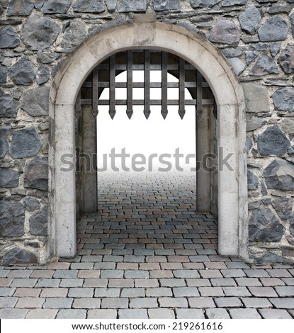 Medieval castle main enter or gate - stock photo