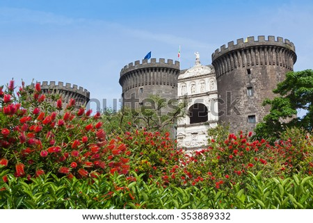 Medieval castle of Maschio Angioino or Castel Nuovo (New Castle) in Naples, Italy - stock photo