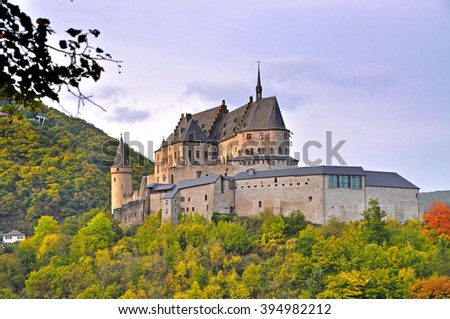 Medieval Castle of Vianden on top of the mountain in Luxembourg - stock photo