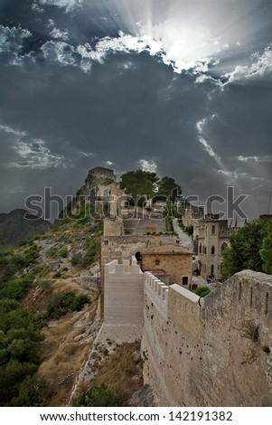 Medieval castle of Xativa (Spain) - stock photo
