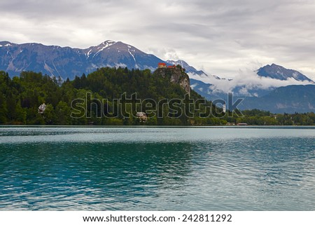 Medieval castle on top of a hill in Bled above the lake